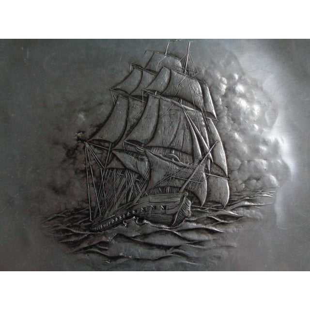 Beautiful vintage Wendell August Forge tray or shallow bowl or plate. Hand-hammered aluminum, depicting sailing ship....