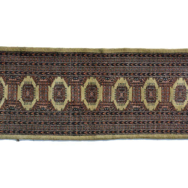 Gold Persian Carpet Runner, Signed, 1940s For Sale - Image 8 of 9
