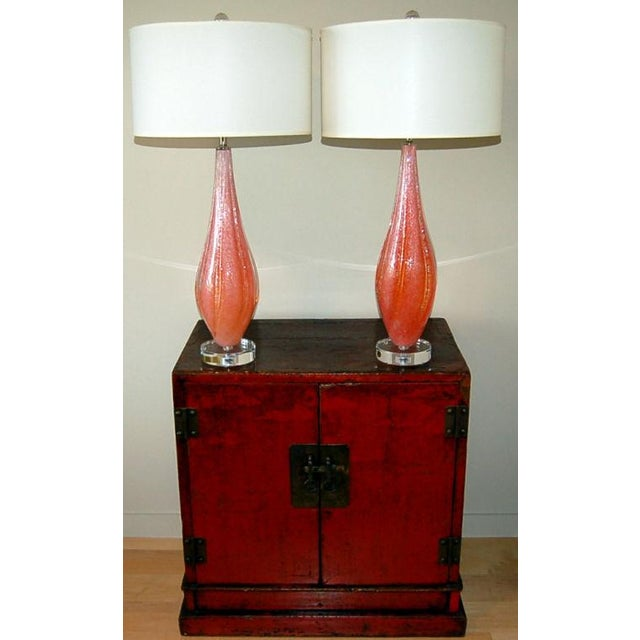 Murano Vintage Murano Pulegoso Glass Table Lamps Orange For Sale - Image 4 of 10