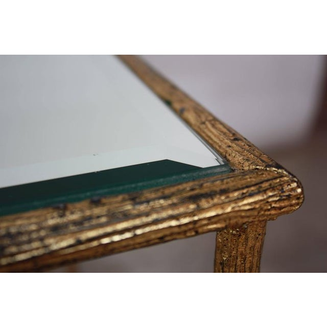 Pair of Italian Gilded X-Base Side Tables with Mirror Tops - Image 4 of 10
