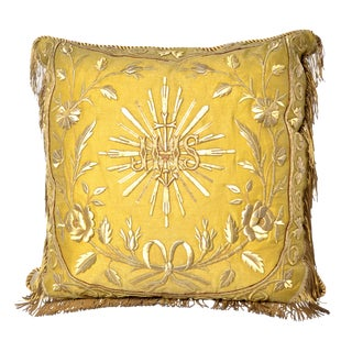 Antique Gothic Revival Gold Metallic Embroidered Textile Pillow With Gold Fringe - 24ʺW × 24ʺH For Sale