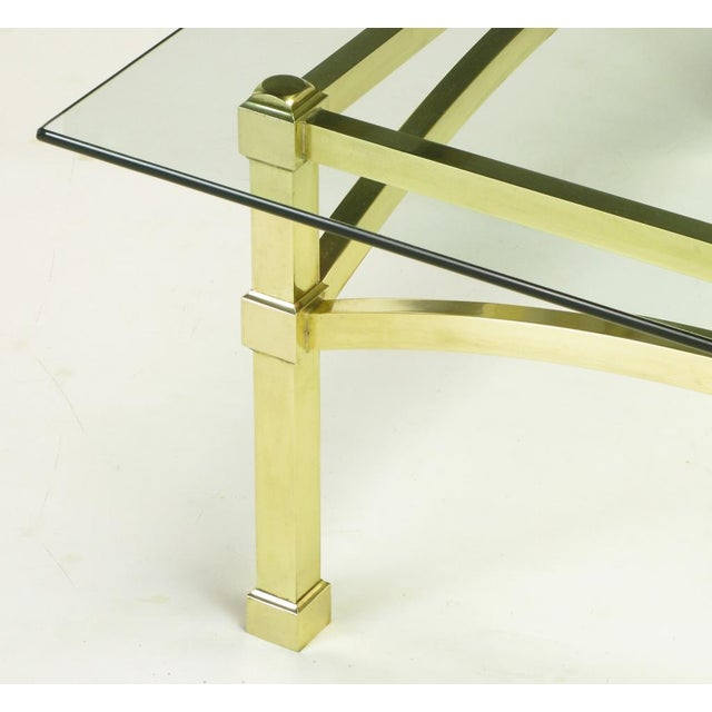 Italian Postmodern Architectural Brass & Glass Coffee Table - Image 8 of 10