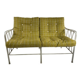 Vintage Mid Century Outdoor Wire Heavy Cast Iron Yellow Love Seat For Sale