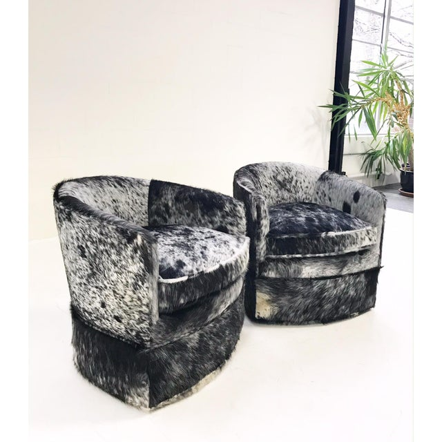 Vintage Milo Baughman Wheeled Restored and Reupholstered in Black and White Speckled Brazilian Cowhide Slipper Chairs - a Pair - Image 7 of 9