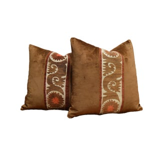 """Pair of Custom 20"""" Vintage Textile Pillows For Sale"""