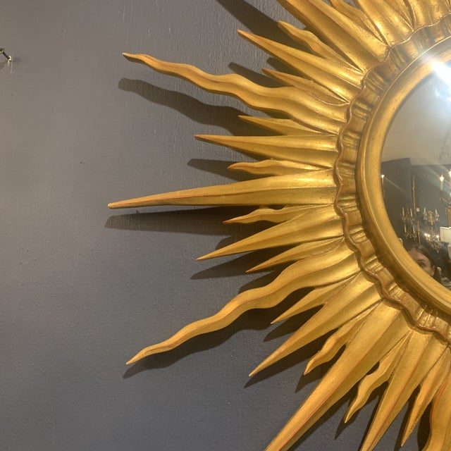 2010s Gold Leaf Sunburst With Convex Mirror For Sale - Image 5 of 13