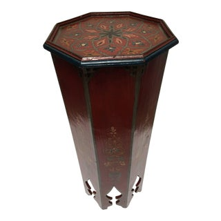 Hand-Painted Moroccan Moorish Pedestal Table For Sale
