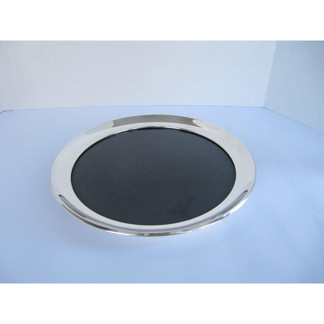 Vintage Silverplate Tray with Black Laminate Insert For Sale - Image 4 of 4