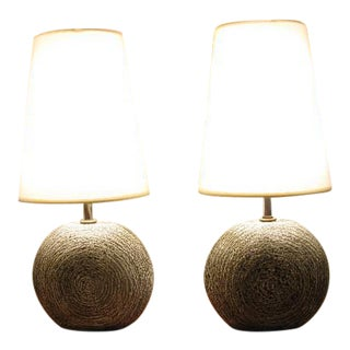 Pair of Ceramic Disc Shaped Lamps by Kelby For Sale