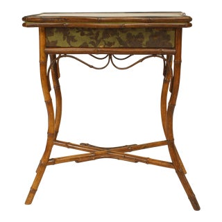 English Victorian Bamboo Flip-Top Console Table For Sale