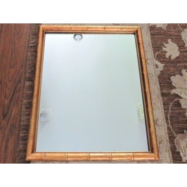 Vintage Palm Beach Style Gilt Faux Bamboo Rectangular Mirror For Sale - Image 13 of 13