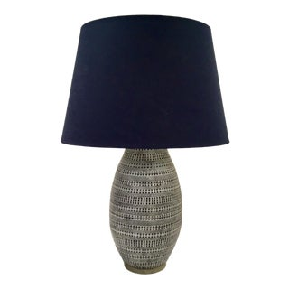 Arteriors Modern Admiral Blue Terra-Cotta Shawnee Table Lamp For Sale