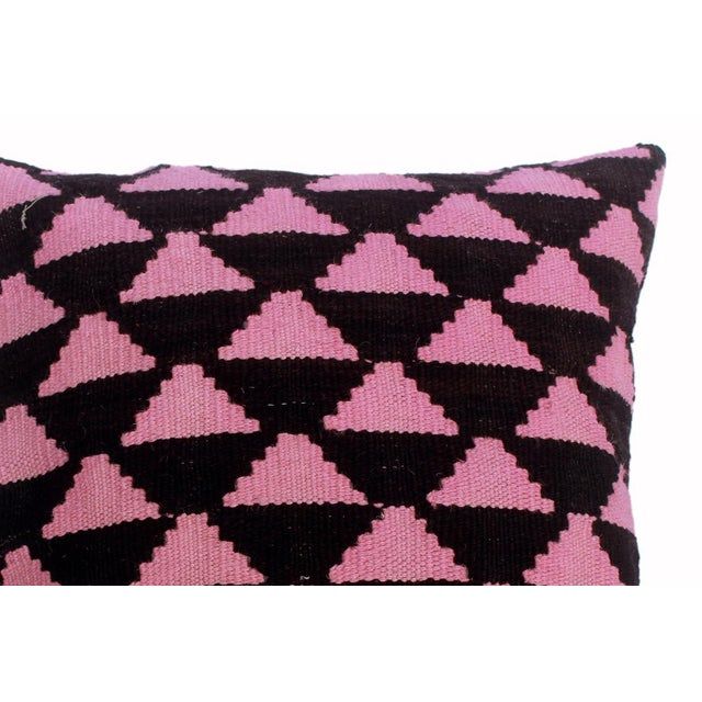 "Dena Black/Pink Hand-Woven Kilim Throw Pillow(18""x18"") For Sale - Image 4 of 6"