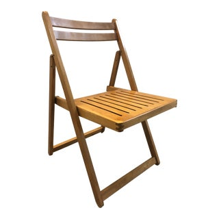 1960s Vintage Danish Romanian Wood Folding Dining Chair For Sale