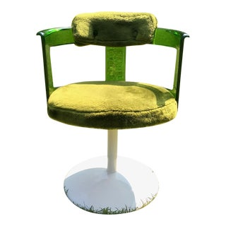1970s Vintage Daystrom Green Faux Fur & Lucite Chair With Tulip Base For Sale