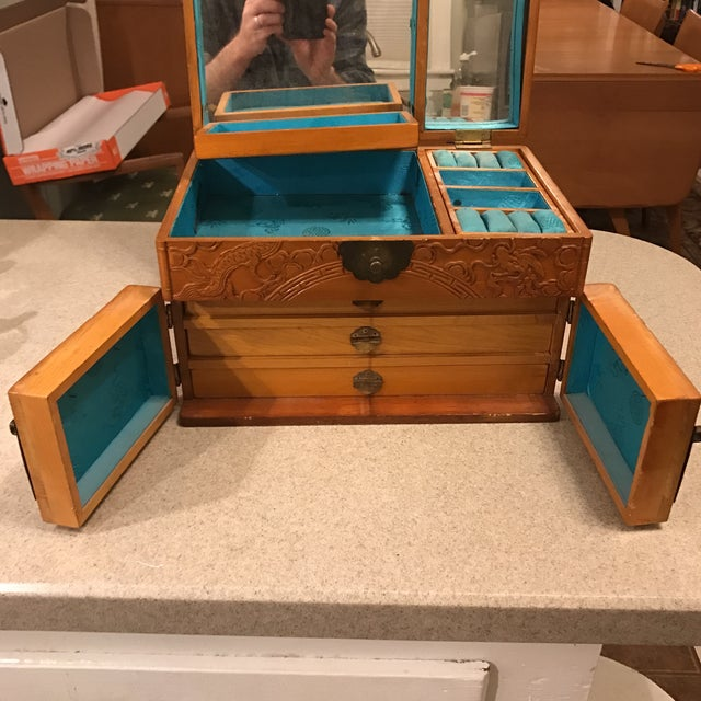 Vintage Asian Chinoiserie Jewelry Box - Image 9 of 11