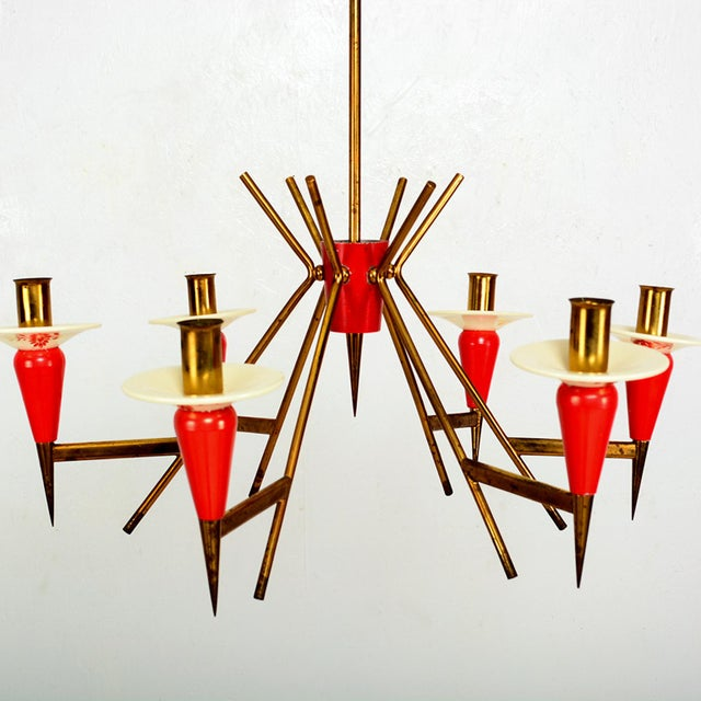 For your consideration: STILNOVO Sputnik Six Arm Chandelier in Vivid Red. Original vintage condition. Chandelier has been...