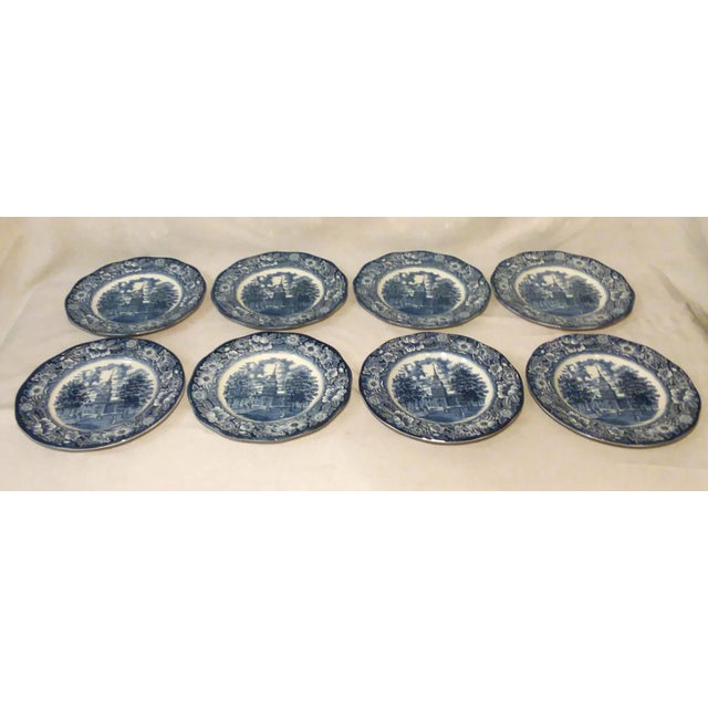 "English Traditional Staffordshire ""Independence Hall"" Dinner Plates - Set of 6 For Sale - Image 3 of 9"