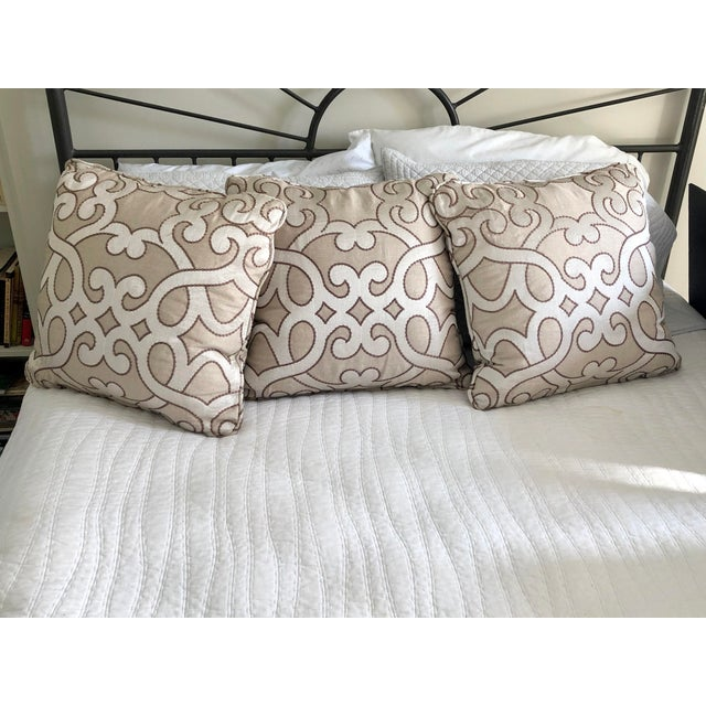 """2010s Scalamandre Damascus Embroidery Square 18"""" Pillows (3 Available) For Sale - Image 5 of 13"""