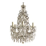 Image of Italian 1950s Gilt Iron and Crystal Chandelier For Sale