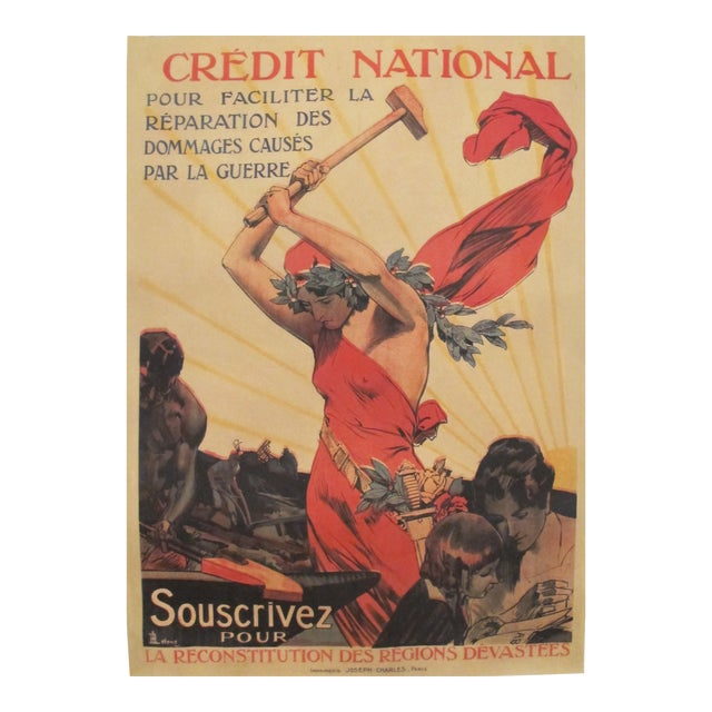 1920 French Vintage Propaganda Poster, Credit National For Sale
