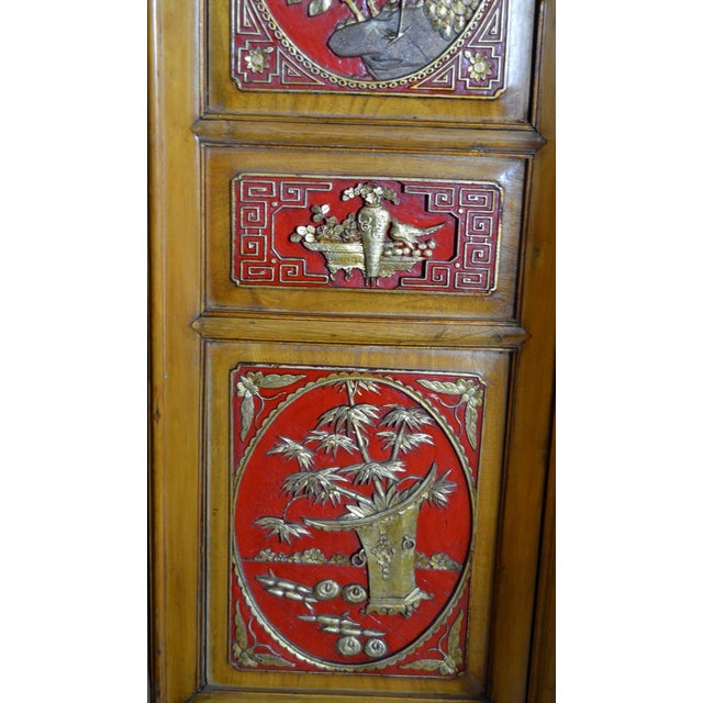 Asian 19th Century Chinese Qing Dynasty Wooden Armoire With Hand-Carved Gilt Panels For Sale - Image 3 of 13