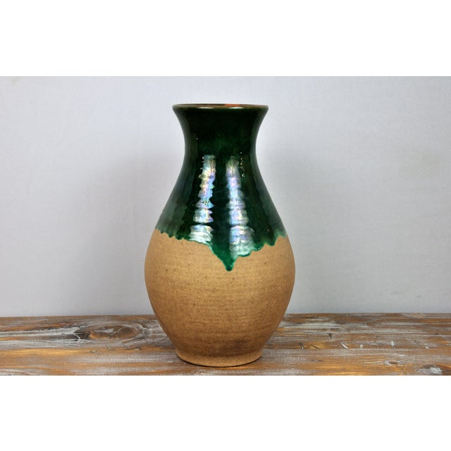 Traditional Vintage West Germany Handmade Ceramic Vase With Green Glazed Detail For Sale - Image 3 of 13