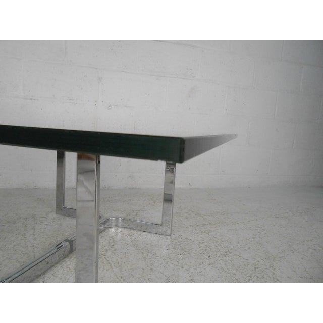 1970s Mid-Century Modern Chrome and Glass Coffee Table For Sale - Image 5 of 11
