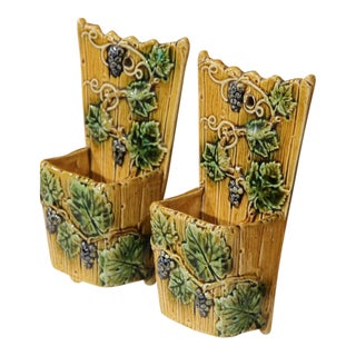 19th Century French Hand-Painted Barbotine Flower Holders with Vines - A Pair For Sale