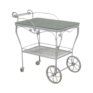 Woodard Ivy Vintage White Painted Wrought Iron Glass Top Patio Server Cart