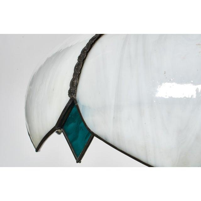 Mid 20th Century Mid-Century White Slag Glass Pendant Fixture For Sale - Image 5 of 8