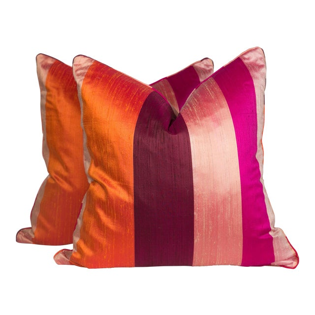 Silk & Velvet Stripe Pillows - A Pair - Image 1 of 5
