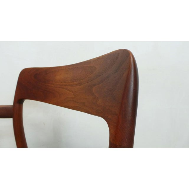 Wood Mid Century j.l. Moller Danish Modern Teak Framed Rope Seat #56 Arm Dining Chairs by j.l. Moller For Sale - Image 7 of 11