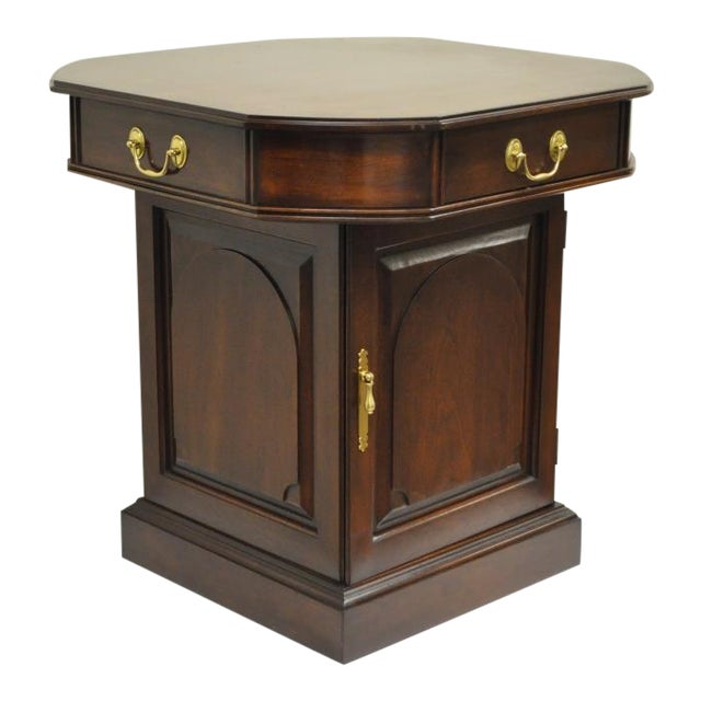 Vintage Harden Solid Cherry Octagonal Storage Cabinet Occasional Side End Table For Sale
