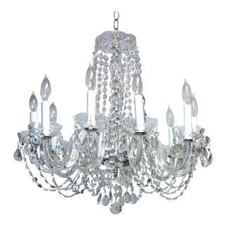 Restored Vintage Crystal & Glass Chandelier For Sale