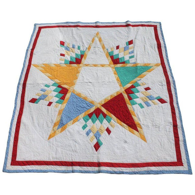 Antique Northeastern Star Quilt For Sale - Image 9 of 11