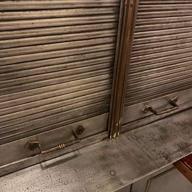 Industrial Antique Steel and Brass Roll Top Valuables Safe Display Cabinet For Sale - Image 3 of 13