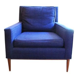 Vintage Mid-Century Modern Navy Wool Arm Chair