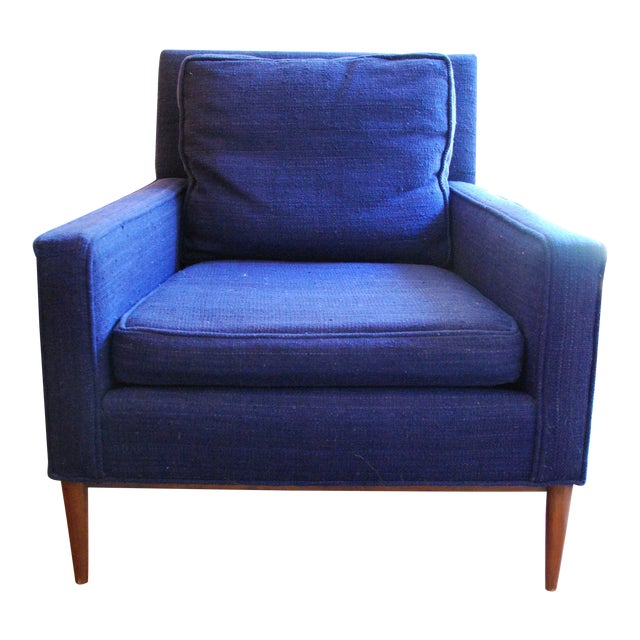 Vintage Mid-Century Modern Navy Wool Arm Chair For Sale