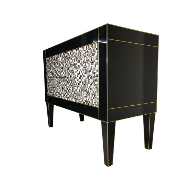Handmade Mirrored Commode or Chest of Drawers, Volcanic Rock and Brass Inlay For Sale