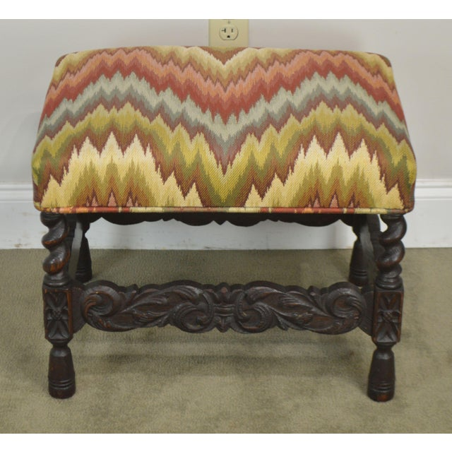 1900 - 1909 Antique Carved Oak Jacobean Style Small Bench or Stool For Sale - Image 5 of 13