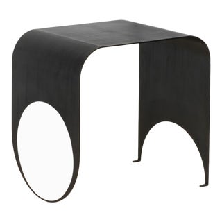 Contemporary Blackened Steel and Polished Steel Thin Table 1 For Sale