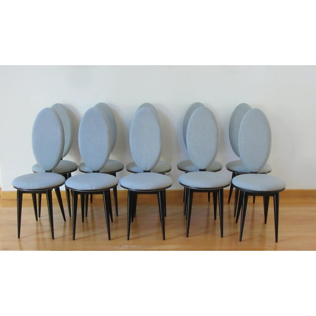Art Deco Oval Back Lacquer Dining Chairs - 10 - Image 6 of 11