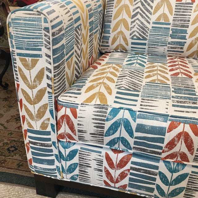 Custom Contemporary Leaf Motif Upholstered Arm Chair - Image 5 of 11