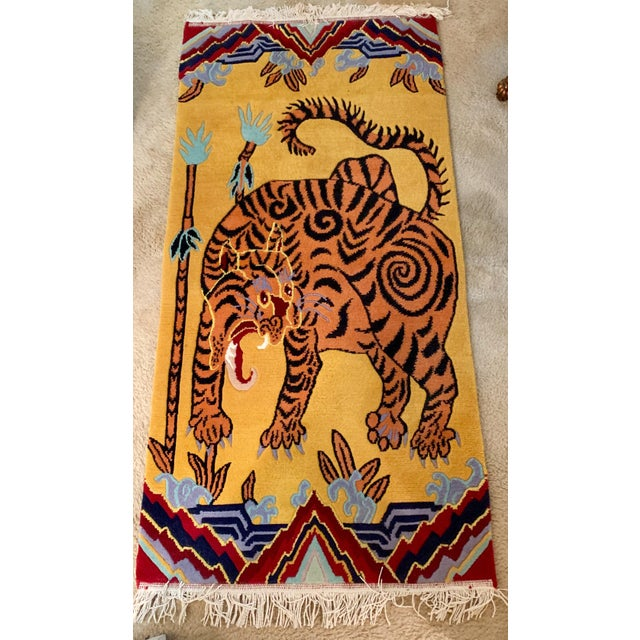 Hand Knotted Indian Wool Tiger Rug, 4' X 6' For Sale In Atlanta - Image 6 of 7