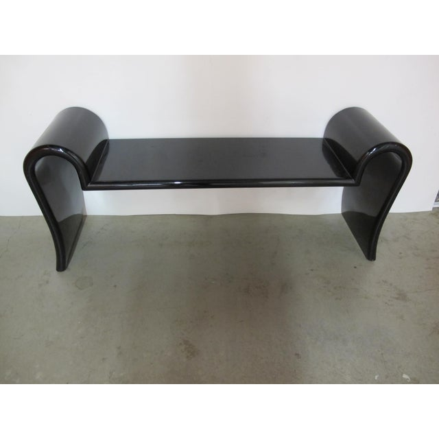 Amazing wooden black lacquered bench. This piece is sturdy but does show wear. Scratches, some dings, and scuffs to the...