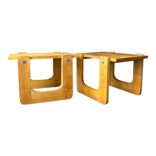 1970s Studio Craft Pine Side Tables - a Pair For Sale