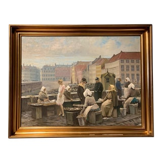 "1920s s.c. Bjulf Painting, ""Fish Market at Gammel Strand"" Copenhagen For Sale"