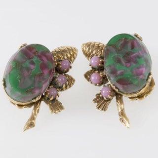German Art Glass Green Pink Purple Necklace Bracelet Earrings Set Preview