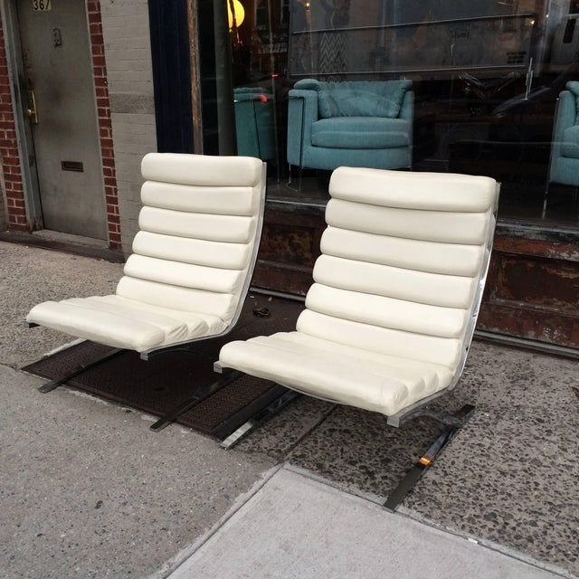 1970s Vintage Design Institute of America Chrome Cantilever Lounge Chairs- A Pair For Sale - Image 10 of 10